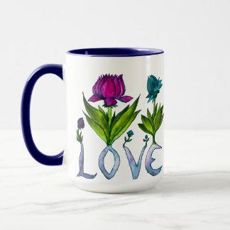 Två-Tonad mugg för kärlek blommor