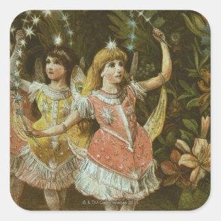 Två ung flicka utför balett fyrkantigt klistermärke