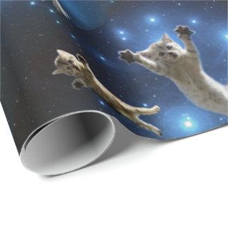 Två utrymmekatter som flyter runt om galax presentpapper