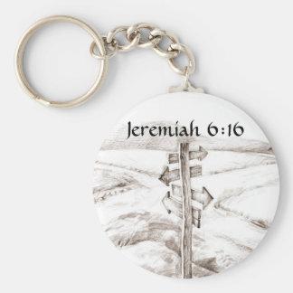 Tvärgator Jeremiah 6:16 Rund Nyckelring
