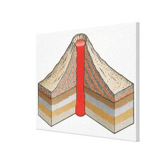 Tvärsnitt av enaska vulkan canvastryck