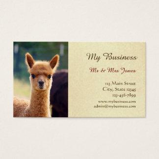 Tvåsidiga djuromsorga visitkortar för Alpaca Visitkort