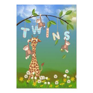 Tvilling- baby shower för djungel 12,7 x 17,8 cm inbjudningskort