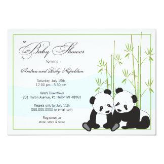 Tvilling- baby showerinbjudningar för Pandas | 12,7 X 17,8 Cm Inbjudningskort