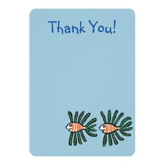 Tvilling- fenafisk för grönt och för orange 12,7 x 17,8 cm inbjudningskort