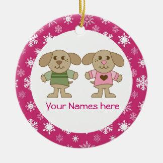 Tvilling- för julminnessak för pojke och för julgransprydnad keramik