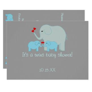 Tvilling- pojkar för elefantbaby shower 11,4 x 15,9 cm inbjudningskort