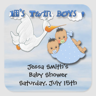 Tvilling- pojkar - klistermärkear för Storkbaby Fyrkantigt Klistermärke