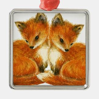 Tvilling- rävar för baby julgransprydnad metall