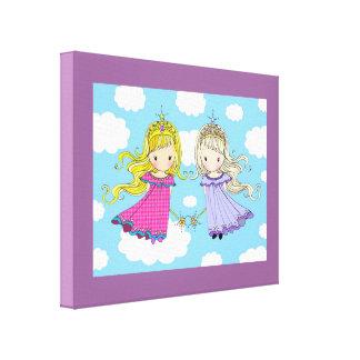 Tvilling- slågen in kanvastryck för flickakonstför
