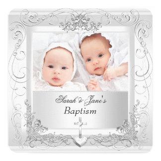 Tvilling- vit 2a för dop för fyrkantigt 13,3 cm inbjudningskort