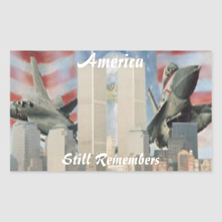 Tvillingbröder 9/11 minneklistermärkear rektangulärt klistermärke