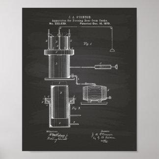 Tvinga patenterad konst för öl 1879 - svart tavla poster