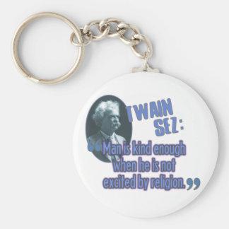 Twain Sez: Man/religion Rund Nyckelring