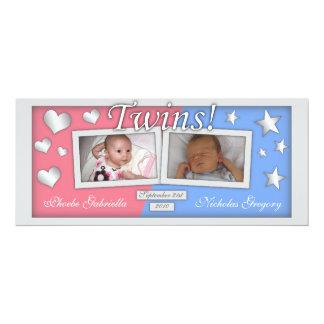 Twillingar flicka & pojketillkännagivande för 10,2 x 23,5 cm inbjudningskort
