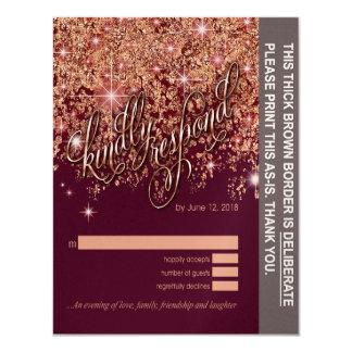 Tychell glitter cascade rsvp Champagne Shim 10,8 X 14 Cm Inbjudningskort