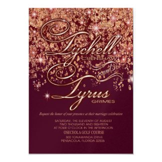 Tychell glitter cascade Wedding Champ Shim 12,7 X 17,8 Cm Inbjudningskort