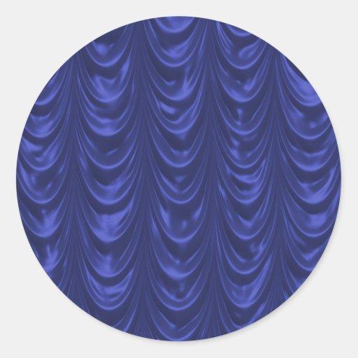 Tyg för koboltblåttsatäng med langetterad struktur rund klistermärke