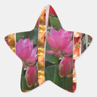 Tyg för lotusblomma för DIVAmodeCouture blommar Stjärnformat Klistermärke