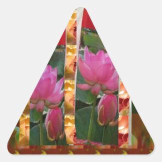 Tyg för lotusblomma för DIVAmodeCouture blommar lo Triangle Sticker