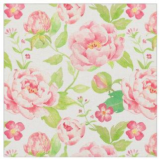Tyg för pion för vattenfärgvintage rosa