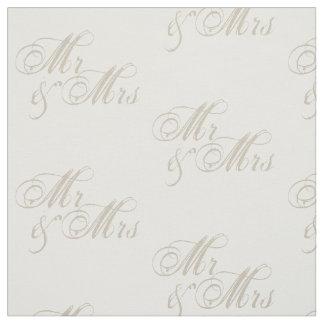 Tyg för vit för Mr&Mrs bröllopfirande
