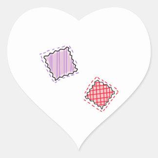 Tyg lappar hjärtformat klistermärke