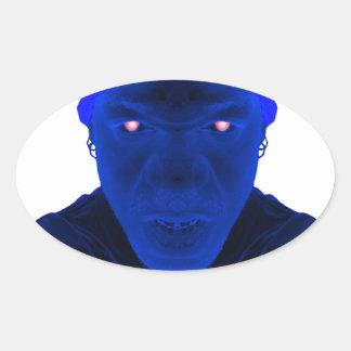 Tyger Vinum blått ansikte Ovalt Klistermärke