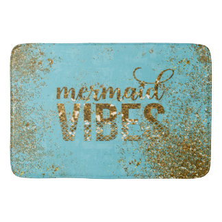 Typografi för glitter för sjöjungfruvibes guld- på badrumsmatta