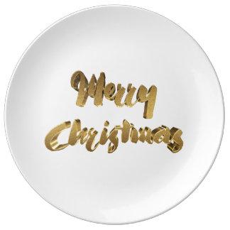 Typografi för handskrift för god julvit guld- porslinstallrik