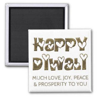 Typografi för hjärtor för lycklig Diwali hälsning Magnet
