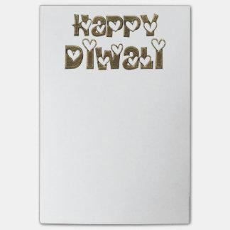 Typografi för hjärtor för lycklig Diwali hälsning Post-it Lappar