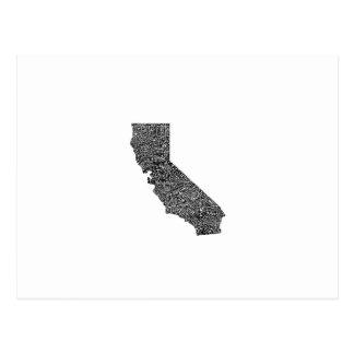 Typografikarta av Kalifornien Vykort