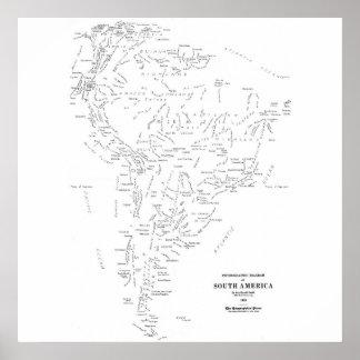 Typografisk karta av South America Poster
