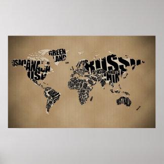 Typografisk världskarta affisch