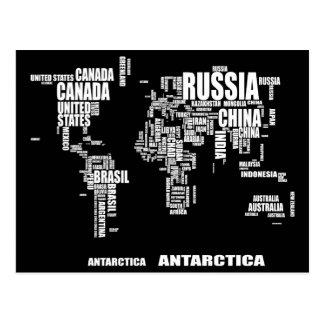 Typografivärldskarta Vykort