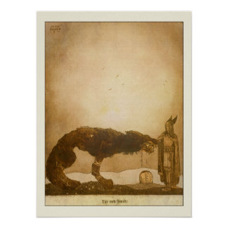 Tyr och Fenrir av John Bauer Affischer
