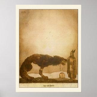 Tyr och Fenrir av John Bauer Poster