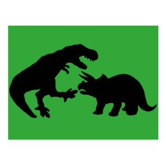 Tyrannosaur och Triceratops b Vykort