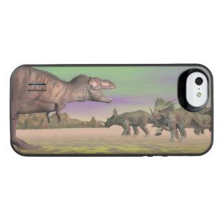 Tyrannosaurus som anfaller styracosaurusen - 3D iPhone SE/5/5s Batteri Skal