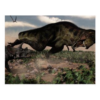 Tyrannosaurusrex mycket på en triceratops vykort