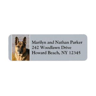 Tysk etikett för returadress för herdehundansikte returadress etikett