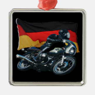 Tysk flagga & Motorbikeryttare Julgransprydnad Metall