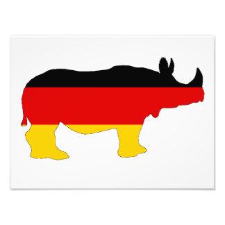 Tysk flagga - noshörning fototryck