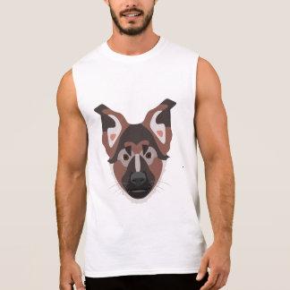 Tysk herde för illustrationhundansikte sleeveless t-shirt