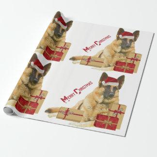 Tysk herde i papper för gåva för Santa hatthelgdag Presentpapper