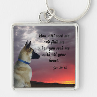 Tysk herdeJeremiah 29:13 Keychain Fyrkantig Silverfärgad Nyckelring