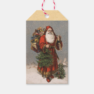 Tysk jultomtenjuletiketter för vintage presentetikett