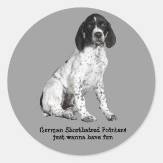 Tysk Shorthaired pekarevalpklistermärke Runt Klistermärke