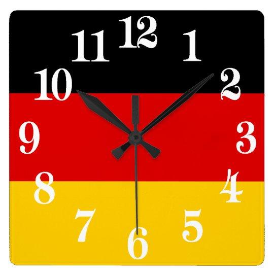 Tyskland Deutschland flagga Fyrkantig Klocka